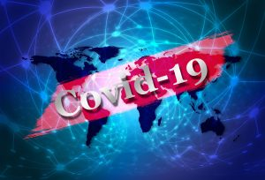 """Ein """"Covid-19"""" Banner."""