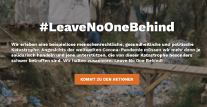 """Banner """"Leave no one Behind""""."""