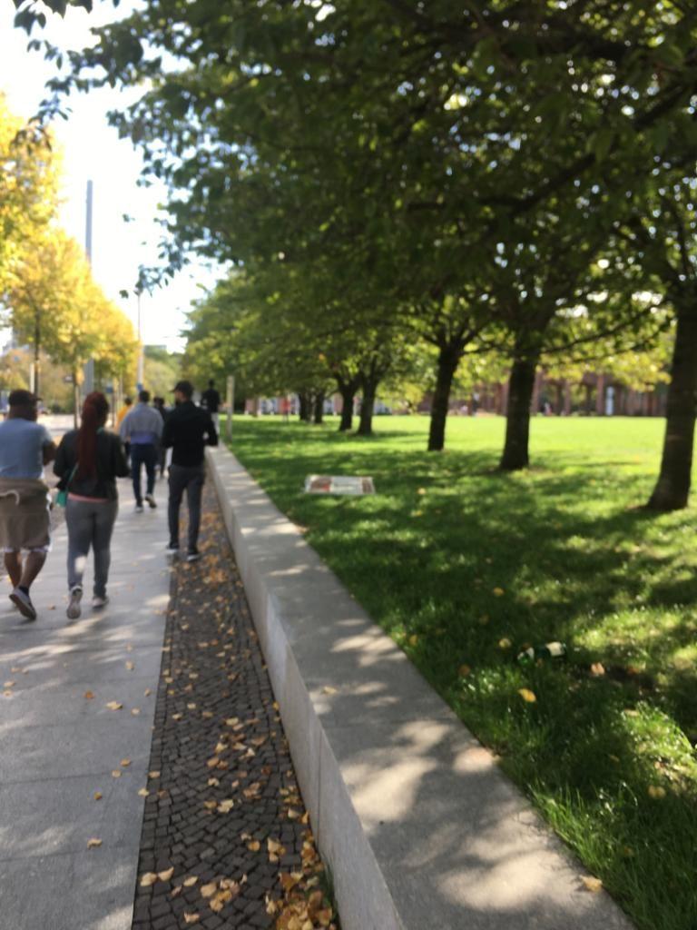 Die Gruppe geht in einer Allee spazieren.