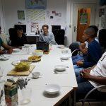 Die Gruppe sitzt am Tisch und wartet mit leeren Tellern auf das Essen.
