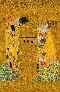 Eine Illustration, die den Leuten anrät 1,5 Meter Abstand zu halten.